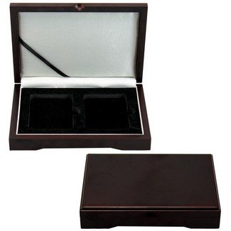 Wood storage box for 2 certified coins