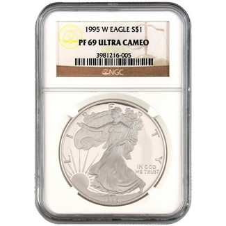 1995 W Silver Eagle NGC PF69 Ultra Cameo Brown Label