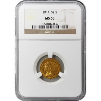 1914 $2.5 Indian NGC MS-63