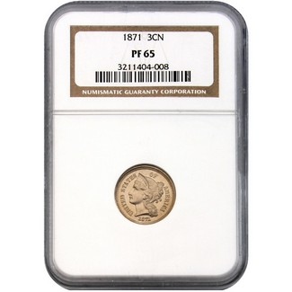 1871 Proof Three Cent Nickel NGC PF-65
