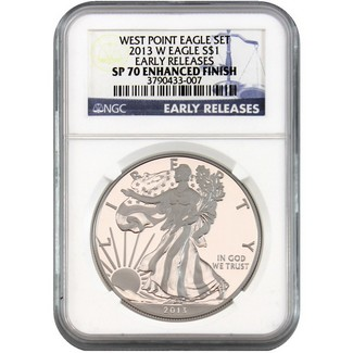 2013 W Enhanced Finish Silver Eagle NGC SP70 Early Releases Blue Label