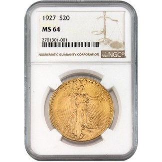 1927 $20 Gold St. Gaudens NGC MS-64