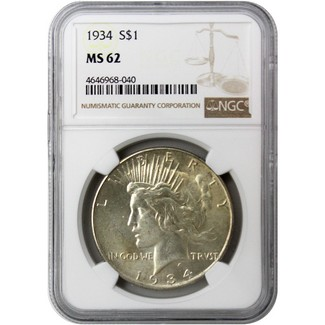 1934 Peace Dollar NGC MS-62