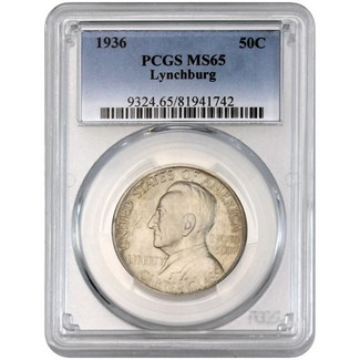 1936 Lynchburg Commem Half Dollar PCGS MS-65
