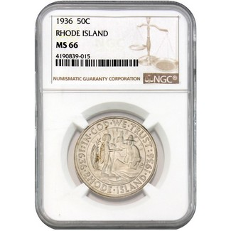 1936 Rhode Island Commem Half Dollar NGC MS-66