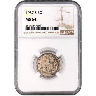 1937-S Buffalo Nickel NGC MS-64
