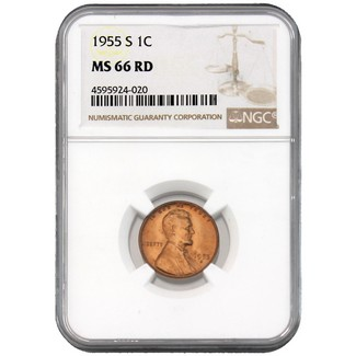 1955-S Lincoln Cent NGC MS-66 RD