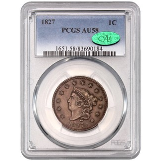 1827 Large Cent PCGS AU-58 (CAC)