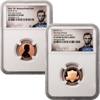 2019 Proof and Reverse Proof Lincoln Cent 1st Day NGC 69 Duo