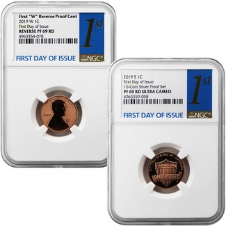 2019 Proof and Reverse Proof Lincoln Cent 1st Day NGC 69 Pair 1st Label
