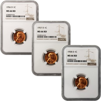 The Last Three Denver Lincoln Cents NGC MS-66 RD