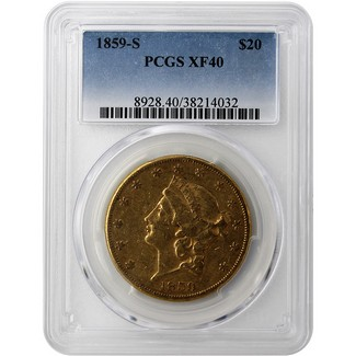 1859 S Type 1 $20 Liberty Double Eagle PCGS XF 40