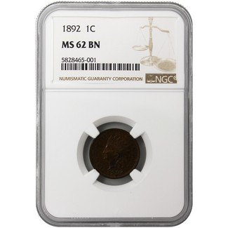1892 Indian Head Cent NGC MS-62 BN
