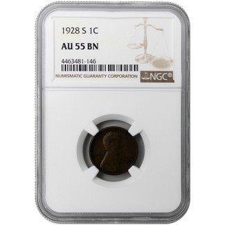 1928-S Lincoln Cent NGC AU-55 BN