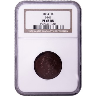 1854 Proof Cent Pattern NGC PF-63 BN