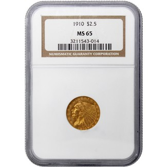 1910 $2.5 Gold Indian NGC MS-65