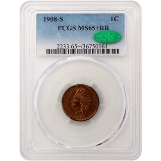 1908-S Indian Head Cent PCGS MS-65+ RB (CAC)