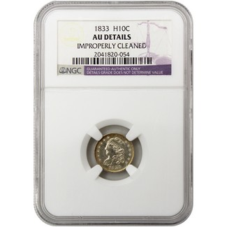 1833 Bust Half Dime NGC AU Details (Improperly Cleaned)
