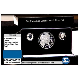 2015 March of Dimes Commemorative 3-coin Silver Set in OGP
