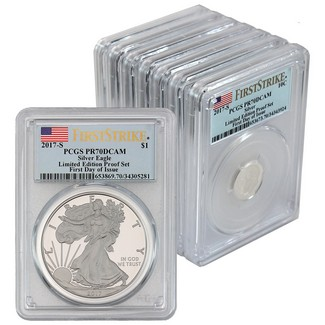 2017 S Limited Edition Silver 8 Coin Complete Set  PCGS PR70 DCAM First Day of Issue Flag