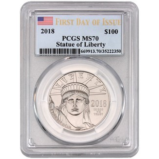 2018 $100 Platinum Eagle PCGS MS70  First Day of Issue Flag Label