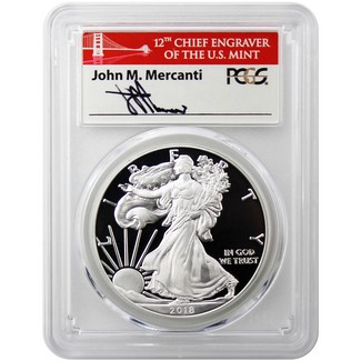 2018 S Proof Silver Eagle PCGS PR70 DCAM First Day of Issue Mercanti Signed Bridge Label