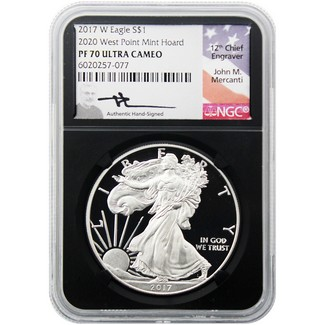 2017 W Silver Eagle 2020 W.P. Mint Hoard NGC PF70 UCAM Mercanti Signed Black Core