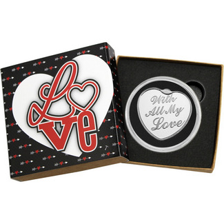 With All My Love 1oz .999 Silver Heart Shaped Medallion in Gift Box