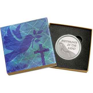 Footprints in the Sand 1oz .999 Silver Medallion in Gift Box