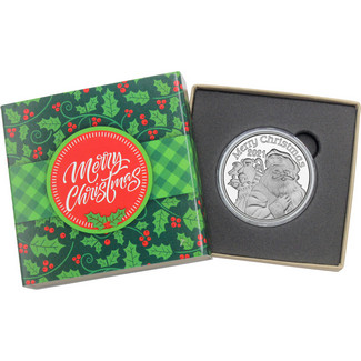 2020 Merry Christmas Santa Claus Ho Ho Ho 1oz .999 Silver Medallion in Gift Box