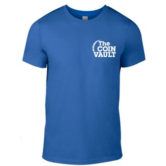 The Coin Vault Logo Royal Blue T-Shirt (Size Large)