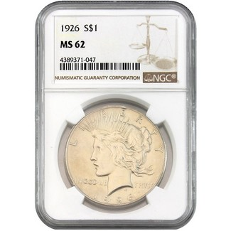 1926 Peace Dollar NGC MS-62