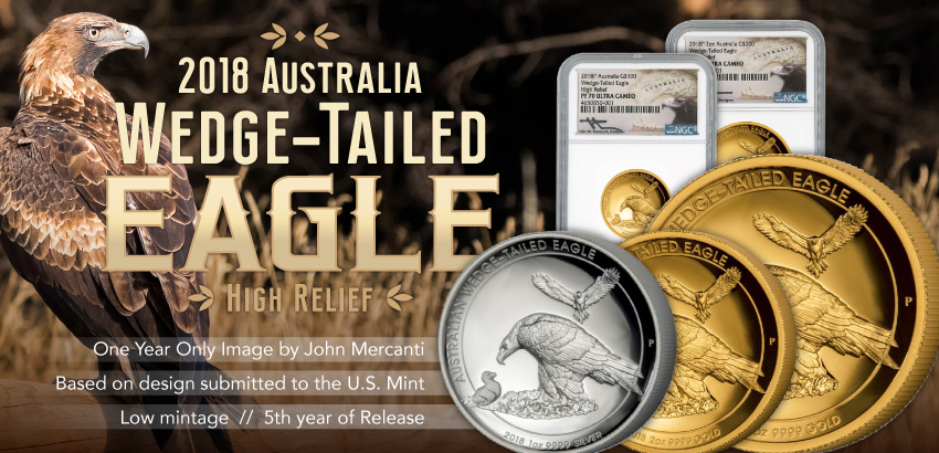 2018 1oz high relief Wedge Tailed Eagle Mercanit