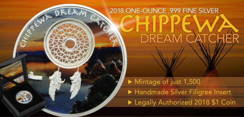 2018 Chippewa Dream Catcher 1oz Silver Proof Coin