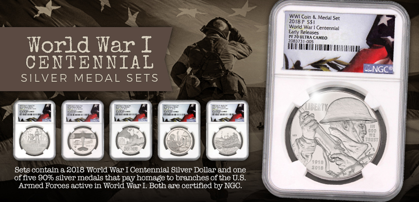 2018 WWI Centennial Silver Coin and Medal Sets